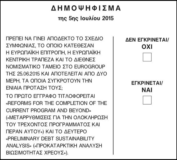 This is the ballot paper for the 2015 Greek bailout referendum, found on the official website of the Greek Ministry of Interior and Administrative Reconstruction. (OXI = No NAI = Yes). Author: Greek Government